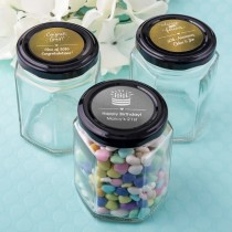 Personalized metallics collection hex shaped jelly jar with black metal lid