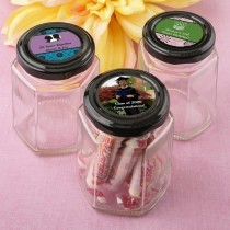 Personalized expressions collection hex shaped jelly jar with black metal lid
