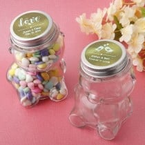 Personalized metallics collection Teddy bear jar with matte silver screw on lid