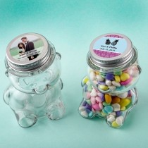 Personalized expressions collection Teddy bear jar with matte silver screw on lid