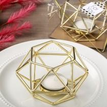 Gold hexagon shaped geometric design tea light / votive candle holder