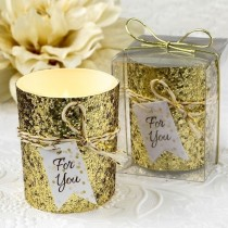 Gold beaded bling candle votive