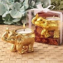 Good Fortune design gold elephant candle holder