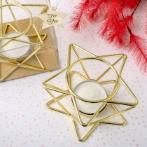Celestial themed star shaped Gold wire tealight holder
