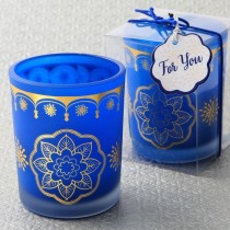East Indian / Moroccan themed Blue frosted glass votive candle with printed gold design