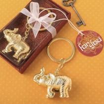 Gold metal 3D Good Luck elephant key chain