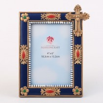 Magnificent Blue and gold Cross frame - 4x6