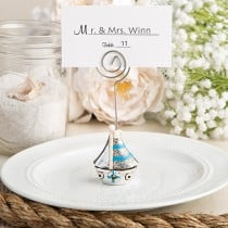 Nautical themed sail boat place card holder and photo frame