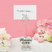 All you need is love' heart design placecard holder / photo holder