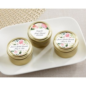 Personalized Gold Round Candy Tin - Baby Brunch (Set of 12)