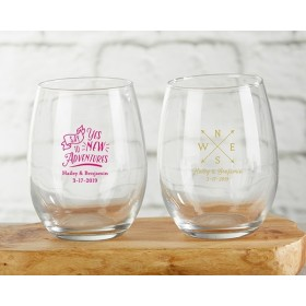 Personalized 9 oz. Stemless Wine Glass - Travel and Adventure