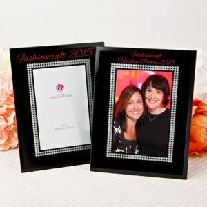 Silk Screened Personalized Black Glass Frame with Silver Glitter border