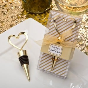 Gold heart design metal bottle stopper from fashioncraft