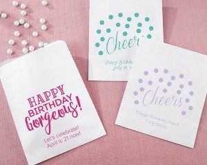 Personalized White Goodie Bags - Birthday For Her (Set of 12)