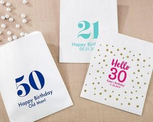 Personalized White Goodie Bags - Milestone Birthday (Set of 12)