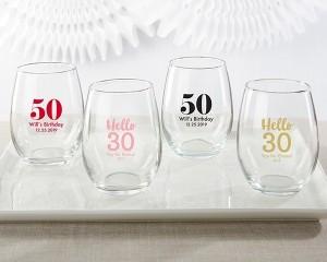 Personalized 9 oz. Stemless Wine Glass - Milestone Birthday