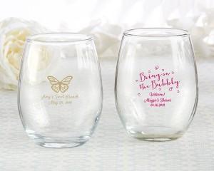 Personalized 9 oz. Stemless Wine Glass - Brunch