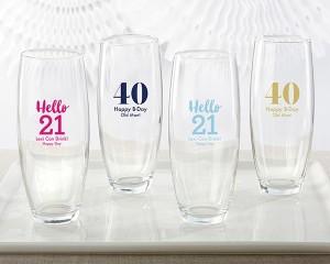 Personalized 9 oz. Stemless Champagne Glass - Milestone Birthday