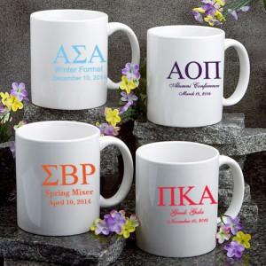 White Ceramic Coffee Mug: Greek Designs