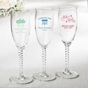 Personalized elegant champagne flutes from fashioncraft - birthday design