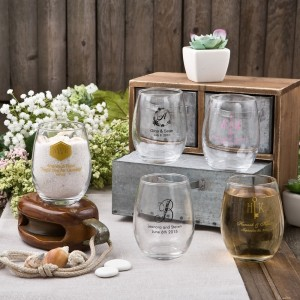 9oz Stemless wine glasses from Fashioncraft's Silkscreened Monogram Collection