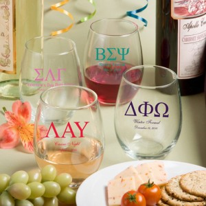 15 Ounce Stemless Wine Glasses: Greek Designs (gift boxes available)