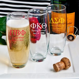Silkscreened Glassware Collection stemless Champagne flute favors: Greek Designs