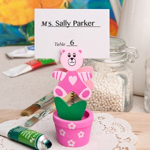 Pink teddy bear/flower pot place card/photo holder
