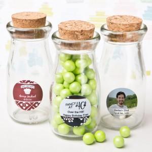 personalized vintage glass milk bottle with round cork top - birthday design