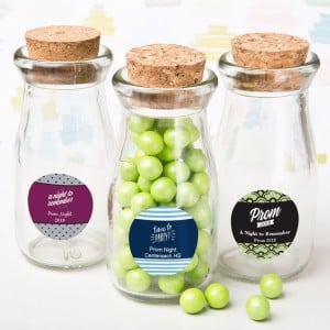 Personalized Vintage Glass Milk Bottle With Round Cork Top - prom design