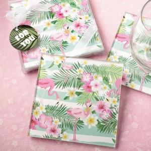 Tropical Flamingo design set of two glass coasters