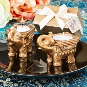 Gold Good luck Indian Elephant candle holder
