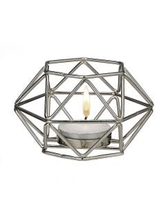 Silver hexagon shaped geometric design tea light / votive candle holder